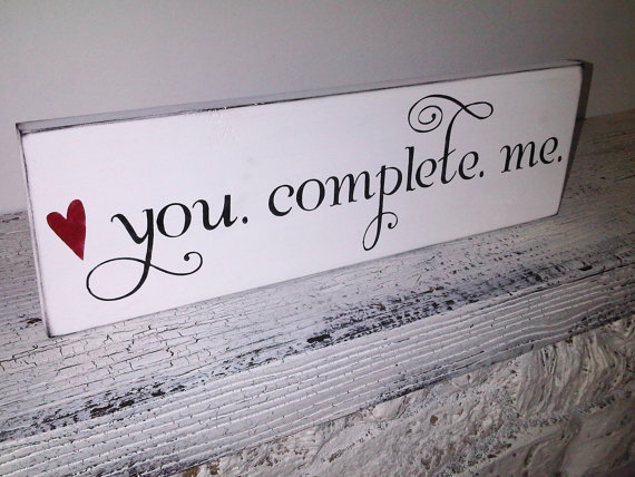"Wedding Signs, Engagement Proposal - ""You Complete Me"" -  Romantic gift for husband or wife, boyfriend girlfriend, engagement photos"