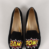 Bam Pow Comic Rhinestone Faux Suede Round Toe Loafer Flat