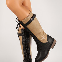 Two-Tone Buckle Lace Up Boot