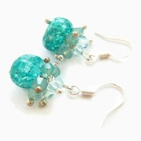 Frozen Turquoise Crackled Stone Azore Pacific Crystals Earrings
