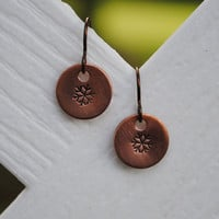 Snowflake Winter Earrings, Copper with Niobium Hypoallergenic Ear Wires for Sensitive Ears