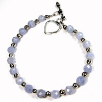 Blue Lace Agate Faceted Round Gemstone Sterling Silver Toggle Bracelet
