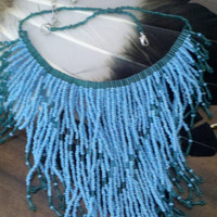 Beaded Bib Necklace ,Turquoise and Sea Green,  Native American Inspired  , Handmade.