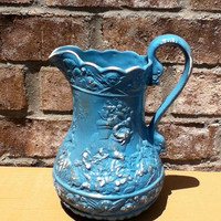 vintage ornate pitcher upcycled aqua turquoise distressed modern home decor  kitchen decor flower vase