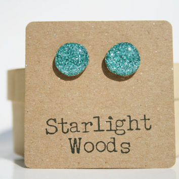 Aqua sparkle studs post earrings nature inspired summer jewelry eco fashion wood earrings Minimalist jewelry  eco friendly eco fashion