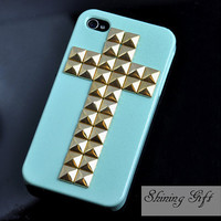 Mint Green Iphone 4 Case with Cross Gold Studs, Cross Gold studded Iphone case, Iphone 4s Case, Light Green Hard Case Cover