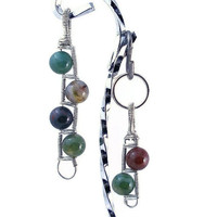 Pet Owner & Dog matching jewelry set - Gemstone Ladder, pendant and collar charm wire wrapped by hand
