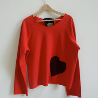 Medium Red Sweatshirt with Black Lace Heart and Bow Slouchy and Comfy