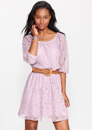 All-Over Long-Sleeve Lace Dress