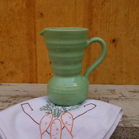 Vintage English Green Pitcher by Lovatt's Pottery - Cottage Kitchenalia
