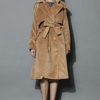 Premium Belted Wool Blend Coat in Tan