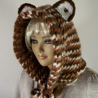 KNITTING PATTERN HOOD - Cute Bear Cowl Hooded (Teen - Adult Size)