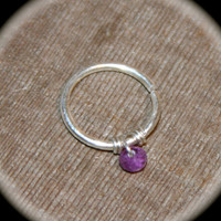 Amethyst Septum Ring 18 or 20 gauge, Septum Hoop,  Septum Ring, Silver Septum rings