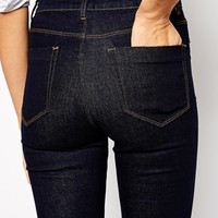 ASOS TALL Exclusive Ridley High Waist Ultra Skinny Jeans In Indigo With Knee Rip