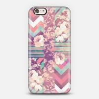 Retro Pink turquoise Floral Stripe Chevron Pattern iPhone 6 case by Girly Trend | Casetify