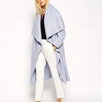 ASOS Coat with Oversized Waterfall Drape