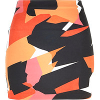 Orange graphic print mini tube skirt - mini skirts - skirts - women