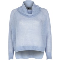 Blue mohair cowl neck knitted jumper - jumpers - knitwear - women