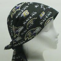 REVERSIBLE, Skull Cap, Dew Rag, Chemo Cap, Full Coverage Headwear, Handmade Baltimore Ravens