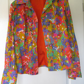 Flower Power Jacket -  Psychedelic pattern - Boho Clothing - Hippy Clothing - Hippie Jacket - Vintage Jacket - Sixities Clothing - Seventies