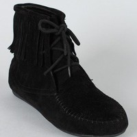 Cherokee-02F Fringe Lace Up Moccasin Ankle Bootie