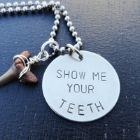 Silver Shark Tooth Necklace - &quot;Show Me Your Teeth&quot;
