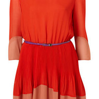 Petite Red Colour Block Belted Pleated Dress - Petite - Clothing - Topshop USA