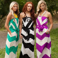 Jade Chevron Striped Tie Maxi Dress