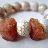 """Lucky Agate and Carnelian Bracelet, Size 7.5"""", Handmade Jewelry on Etsy, Gift for Her, OOAK, Christmas, Kwanza, Unique Gifts"""