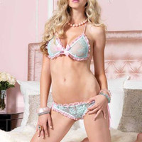 Aqua And Pink 2 Piece Ruffle Trim Bra And Panty Set - Unique Vintage - Bridesmaid & Wedding Dresses
