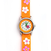 333803-8022B-Orange Children&#x27;s Watch with Flowers-$18.99