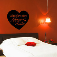 A True Love Story Decal - 28&quot; x 26&quot; - Vinyl Wall Art Decal Sticker