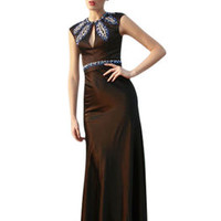 Black Floral Embellished Evening Dress