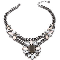 FOREVER 21 Faux Gemstone Flower Necklace Gunmetal/Grey One