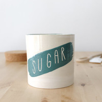 Ceramic lidded canister Sugar container with cork Teal and cream