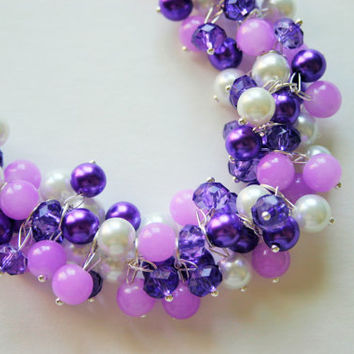 Purple Princess - The Lilly Collection - Purple Ombre Pearl Cluster Crystal Necklace
