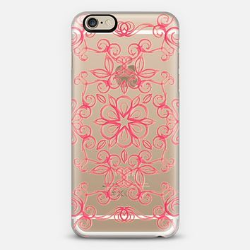 Painted Coral Floral on Crystal Transparent iPhone 6 case by Micklyn Le Feuvre | Casetify