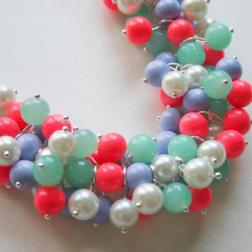 The Scarlett - Lilly Pulizter Inspired Pearl Cluster Necklace / Lavender Mint Coral / Sorority Style Necklace