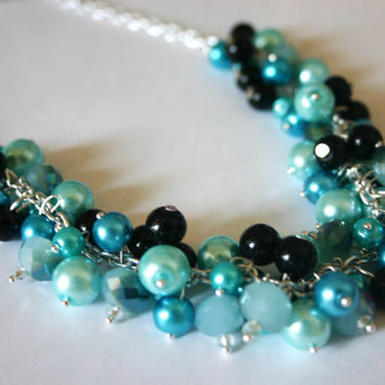Black & Blue Cluster Necklace // Black, Tiffany Blue, and Turquoise Jewelry
