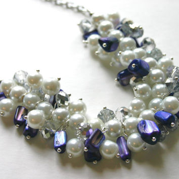 The Rayna - Purple, Gray, and White Cluster Necklace - Lilly Pulitzer Style Necklace