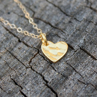 Gold Heart Necklace - Tiny Gold Heart Charm . Romantic . Dainty . Delicate . Gifts for Girlfriend, Anniversary, Bridal, Wedding