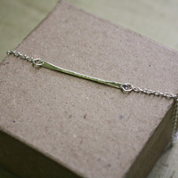 Argenitum Bar Necklace Hammered