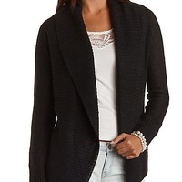 Ribbed Open Front Cardigan with Belt by Charlotte Russe - Black