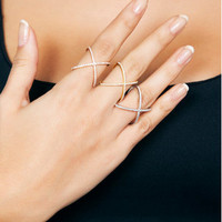 Criss Cross Ring - X Ring - 925K Silver with Swarovski Stone - Cross Fashion Ring - Crisscross Ring - Ring - Silver X Ring