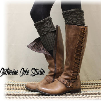 SPICE SCALLOP Peppercorn grey Boot cuffs boot toppers mini leg warmers ladies boot cuffs knit boot cuffs womens Catherine Cole Studio BC2