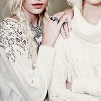 Free People Womens Over the Shoulder Open Back Sweater - Ivory