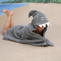 ADULT Shark hooded towel