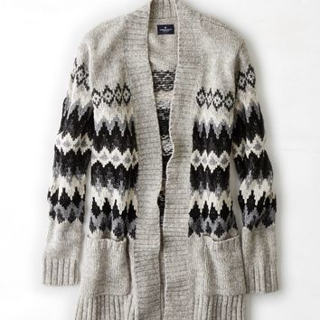 AEO Patterned Open Cardigan
