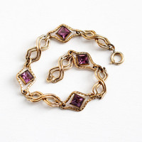Vintage 12k Rosy Yellow Gold Filled Simulated Amethyst Bracelet - 1940s Purple Glass Stone Link Jewelry
