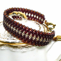 Red Wine and Dark Amber Beadwoven Handmade Cuff BOHO Braclet